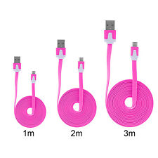 3in1 Micro USB Kabel Ladekabel 3m 2m 1m Datenkabel Samsung HTC Flachband Pink