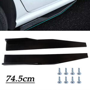 Black Universal Car Body Side Skirt 74.5cm PP Left/Right Winglet Wing Diffuser