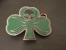 IRISH SHAMROCK & SKULL New BELT BUCKLE Metal Ireland St Patricks Day Logo