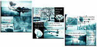 Set of 3 Canvas Art Pictures Teal Positive Thinking Quotes Grey 160cm (3 x 52cm)