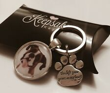 Personalised Photo Keyring Paw Print Memory Dog Cat Bereavement Gift Box