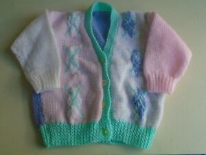 """New Hand Knitted Multi Colour Cardigan 24/26"""" chest (aprox 3/4yrs)"""