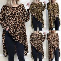 Women Plus Size Loose Leopard Print Top T Shirt High Low Tunic Blouse Mini Dress