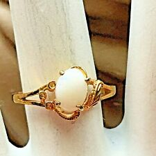Vintage 14k Yellow Gold Plated Opal Ring Size 7