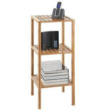 Small Bamboo Side Table with Shelves Wooden 3 Tier Book Storage Telephone Stand
