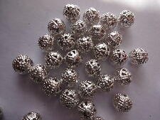100x Argento placcato filigrana in Metallo Spacer Beads 6mm