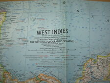 VINTAGE NATIONAL GEOGRAPHIC MAP 1962 WEST INDIES