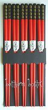 Asie : 5 Paires Baguettes Chinoise Japonaise Asiatique ROUGE & Noir Fleur Or