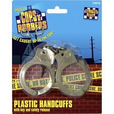 Police Fancy Dress Hand Cuffs Plastic & Keys Cop Convict Stag Party New Smiffys