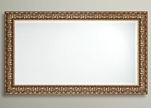 Antique Ornate Bevelled Wall Mirror Gilt Finish French Frame Gold 90x65cm