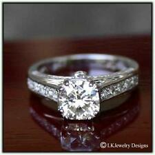Solitaire Pave Engagement Vintage Ring 2.70 Ct Forever One Moissanite Cushion