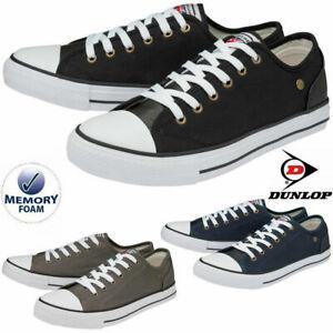 Mens Dunlop Flat Lace Up Canvas Plimsolls Trainers Pumps Gym Memory Foam Shoes