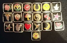 *BARGAIN* 100 ass. metal enamelled square spacer beads Inc. hearts, smiley faces