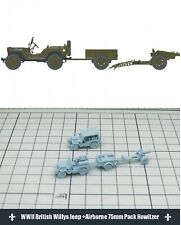 1/144 RESIN KITS  WWII British Willys Jeep +Airborne 75mm Pack Howitzer