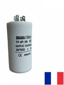 condensateur permanent démarrage moteur 50uF 450V 5% Ø50x106mm