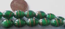25 Vintage 70s Lampwork Glass Emerald Green w/Bronze Swirls Oval Beads 11mmx9mm