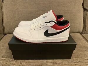 Nike Air Jordan 1 Low White University Red Black 553558-118 Size 11 - Brand New!