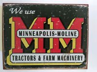 "MM Minneapolis MolineTractor Farm Machinery Barn  Metal Tin Sign 13"" x 16"""