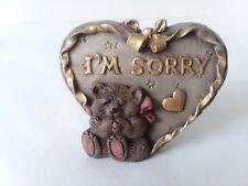 Sarah's Attic Gold Tone Heart Stand I'm Sorry Bear Pink Ribbon Desk Shelf Decor