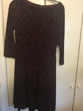 Talbots Size XS Burgundy Wine Merlot Holiday Floral Print Cut Velvet Dress New