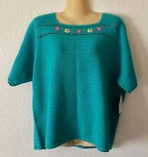 Susan Bristol Cotton Ramie Teal Sweater Size 2W Embroidered Flowers New w/ Tags