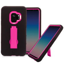 FOR SAMSUNG GALAXY S9 G960 BLACK PINK IMPACT SHOCK STAND CASE HYBRID C