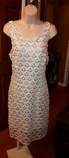 Covington Ladies Size 12 Gold and White  Sequin Mesh Sheath Dress