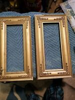 """2 SM ANTIQUE FITS 8x3"""" GOLD PICTURE FRAMES WOOD GESSO ORNATE FINE ART COUNTRY"""