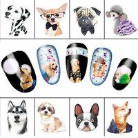5 sheet Cute Dog Watermark Nail Decals Nail Art Water Transfer Fashion Stickers