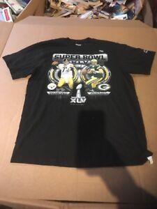 Aaron Rodgers Ben Roethlisberger Super Bowl XLV shirt Adult 2XL Black Reebok