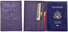 Genuine Purple Cowhide Leather Passport Cover Case Holder & Wallet