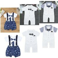 Newborn Baby Boys Romper + Shorts Jumpsuit Gentleman Outfit Bodysuit Clothing