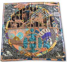 "AUTH Rare HERMES Scarf Shawl Foulard Carre Tuch ""Ex Libris En Kimonos"" 90cm"