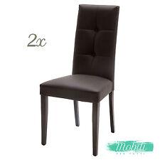 Sedia Moderna in Ecopelle Marrone con Bottoni - 2 Pezzi SPEDIZIONE GRATUITA