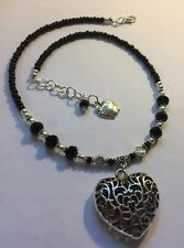 Gift, choose Your Own Charm, Black crystal Choker Pendant Necklace, Personalize