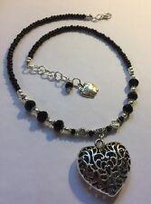 Cristal Noir Tour de cou collier pendentif, Personnalisez Cadeau, choisissez votre propre charme,