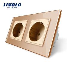 Livolo Gold Glas 2 fach  Schutzkontaktsteckdose Steckdose Wandsteckdosen