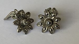Vintage Continental 800 Silver Marcasite Signed Clip on Ladies Pair Earring's