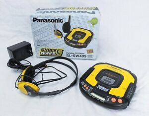 Panasonic SL-SW405 Yellow Shockwave Portable CD PLAYER w/ Accessories TESTED