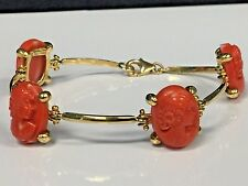 18KT Yellow Gold Red Sardinian Coral Cameo Bracelet Vintage 1950's Handmade 40CT