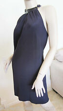 Authentic RAMY BROOK Navy Blue Silk Halter Dress, Size XS