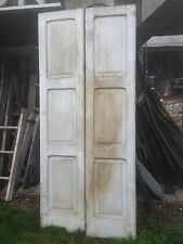 Vtg Pair 1800's Old  Wooden Window Shutters Architectural Salvage Screen 79 x17