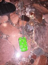New Victoria's Secret VS PINK ID Dog Tag Silver Green Necklace Jewelry Collector