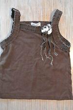 LYDIA JANE Brown Tank Sleeveless Shirt Ruffle edge Flower 4T