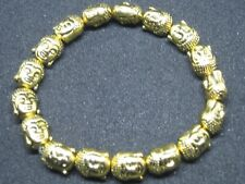 LOVELY 3D BUDDHA HEAD BEAD BRACELET GOLD TONE GREAT GIFT