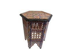 Moroccan Pink Moucharabieh Hand painted Table Arabic Furniture End Table