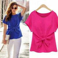 Women Casual Round Neck Chiffon Shirt Short-sleeved Bow Tie T-shirt Blue White