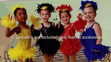 NWT Birdie Packet Headpiece wristlets & feather tutu child sizes only Dance Aces