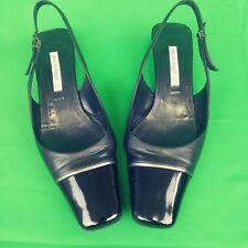 Bruno Magli Womens Shoes Slingback Square Toe Kitten Heels Black Leather 7B