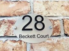 MODERN PERSONALISED CUSTOM HOUSE SIGN PLAQUE NUMBER STREET GLASS / METAL OVAL